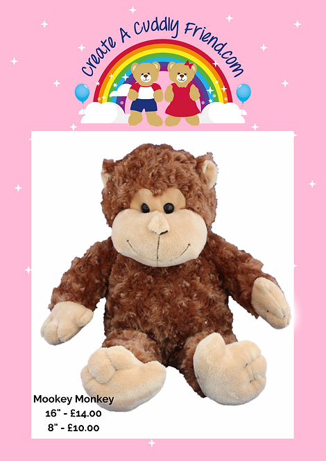 Mookie Monkey 8 Inch Create A Cuddly Friend Package
