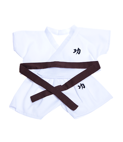 Karate outfit with 5 coloured belts