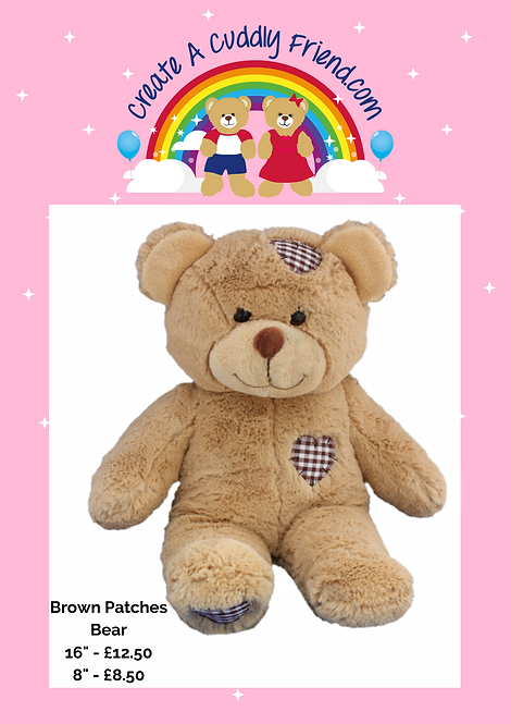 Brown Patches Bear 8 Inch Create A Cuddly Friend Package