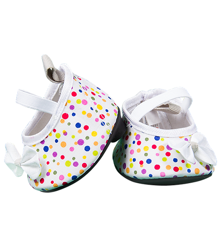 White Multicolour polka dot shoes 16 inch