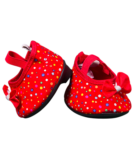 Red shoes with Multi coloured polka dots