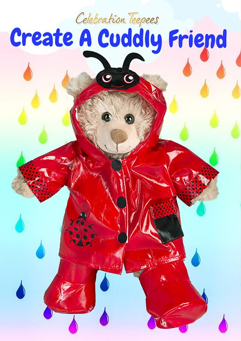 Lady Bug Red Raincoat and Wellies Set for 16 inch bear