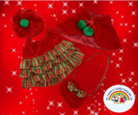 Christmas Dress with Hat, Bag and Cape - 16 Inch