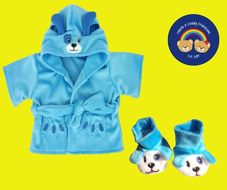 Blue Puppy Robe and Slippers Set 16 inch