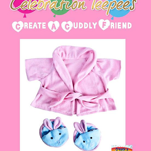 Pink Dressing Gown and Bunny Slippers 16 inch outfit