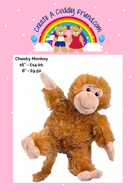 Cheeky Monkey 8 Inch Create A Cuddly Friend Package