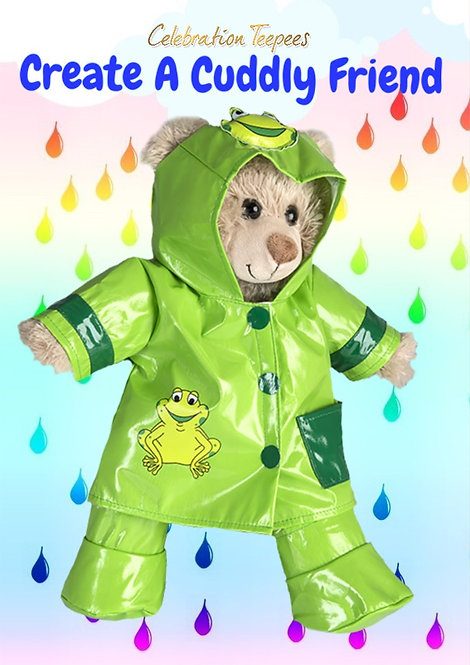 "Green ""Ribbit"" Raincoat and Wellies Set 16 inch"