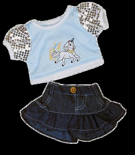 Unicorn top and denim skirt 16 inch