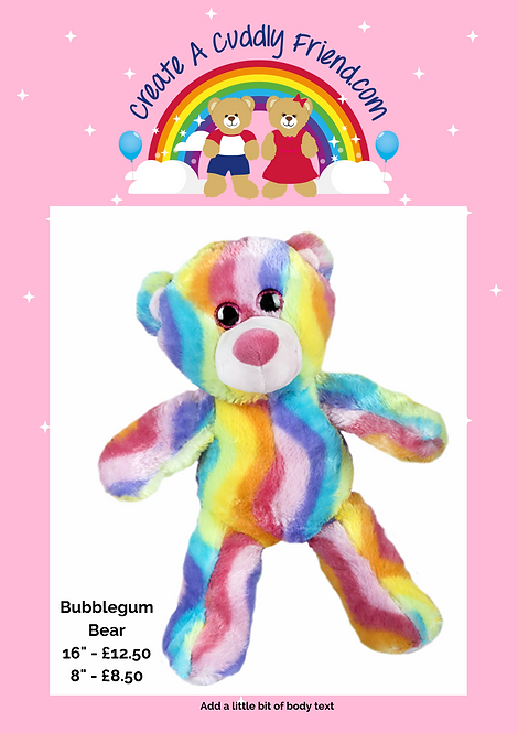 Bubblegum Bear 16 inch Create A Cuddly Friend Package