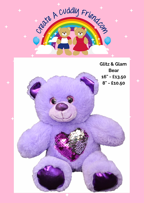 Glitz Purple Bear 8 Inch Create A Cuddly Friend Package
