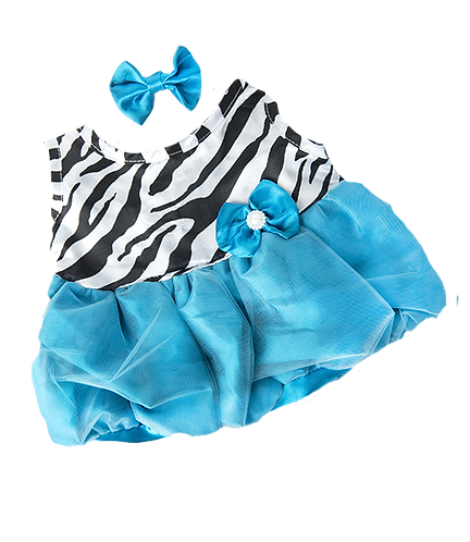 BellasTurquoise and Zebra Print Dress with bow 16 inch