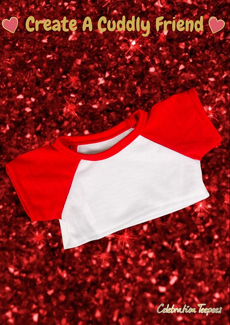 White Tee with Red Sleeves 16 inch