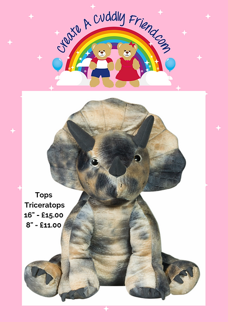 Tops Triceratops 8 Inch Create A Cuddly Friend Package