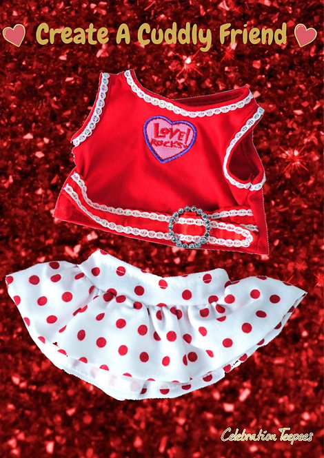 Love Rocks Top with Polka Dot Skirt 8 inch