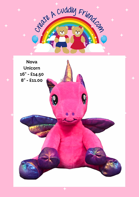Nova Unicorn 16 Inch Create A Cuddly Friend Package