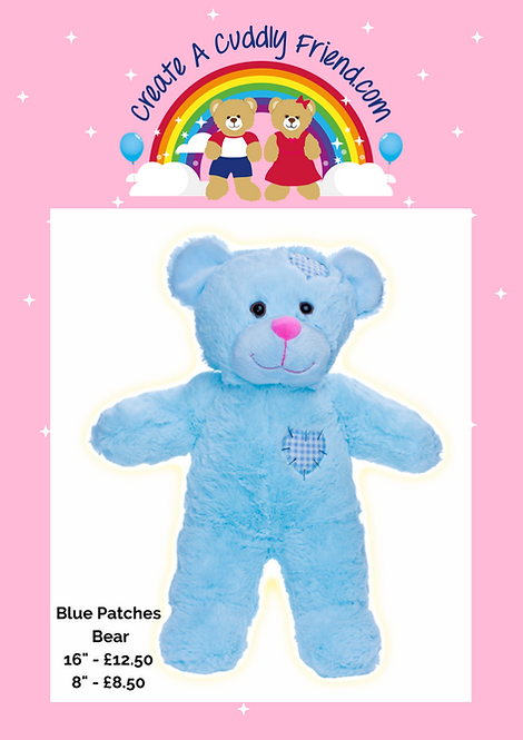 Blue Patches Bear 16 Inch Create A Cuddly Friend Package