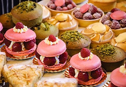 Beautiful cakes at a French patisserie