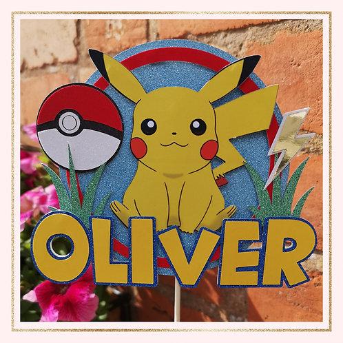 Pokemon themed cake topper