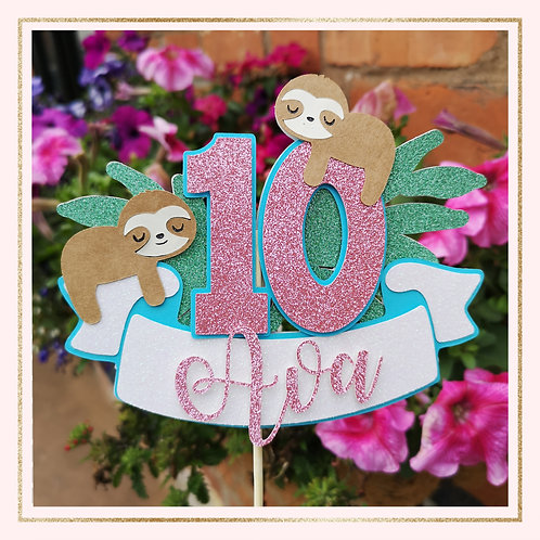Sloth themed cake topper