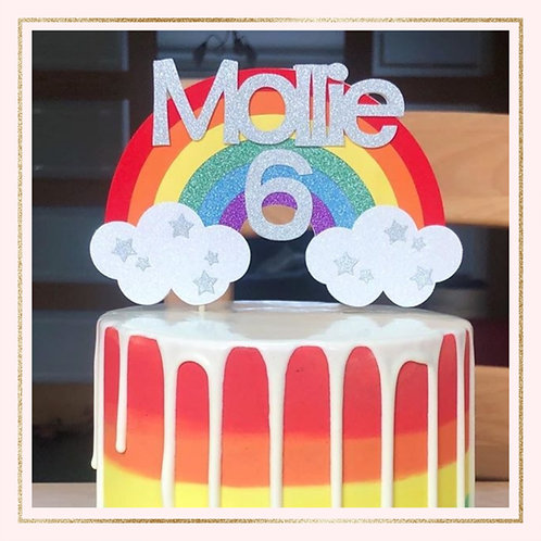 Bright rainbow cake topper