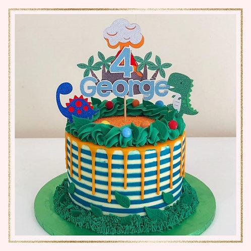 Dinosaur themed cake topper set