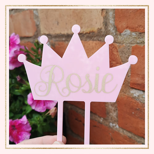 "4"" Acrylic Crown cake topper"