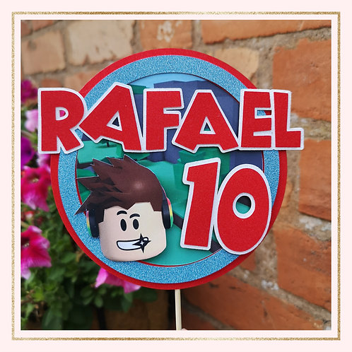 Roblox themed cake topper