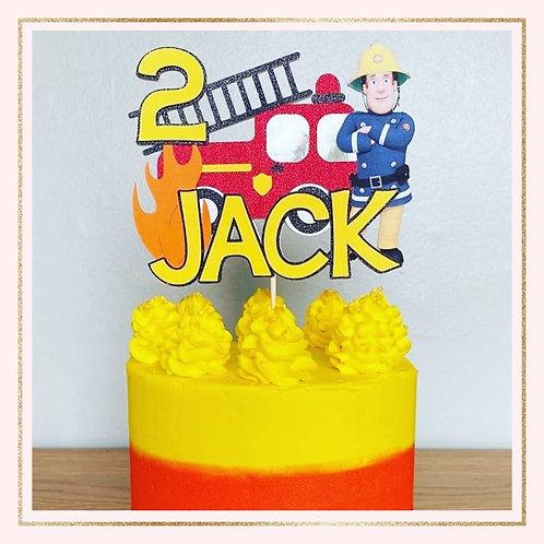Fireman Sam themed cake topper