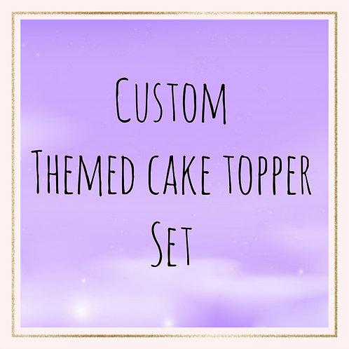 Custom themed cake topper set