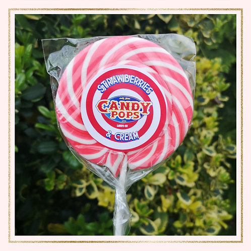 Large Strawberries and Cream Lollipop