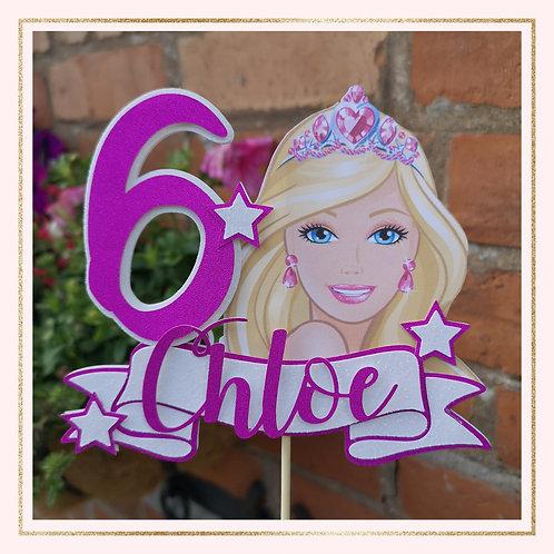 Barbie themed cake topper