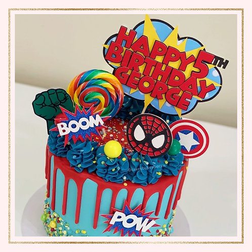 Kapow Marvel themed cake topper set
