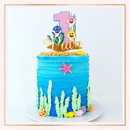 Baby Shark themed cake topper