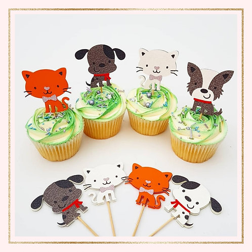 Cats and Dogs themed cupcake toppers