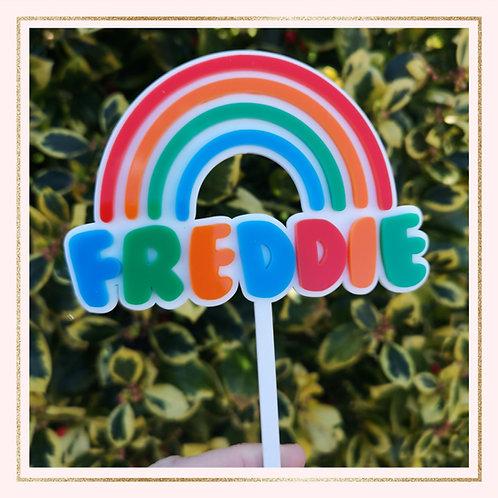Rainbow NAME cake topper