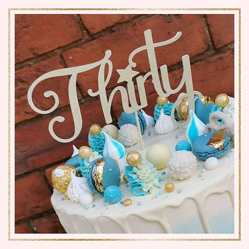 Single colour worded 'AGE' cake topper