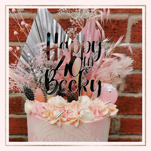 CUSTOM acrylic text cake topper