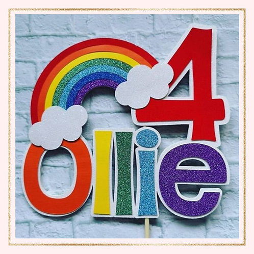 Bright 'NAME and AGE' rainbow topper