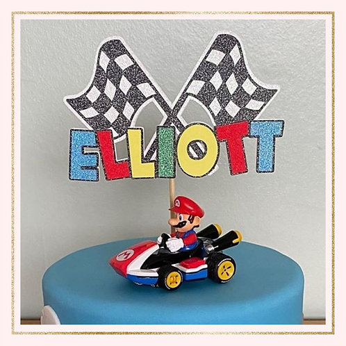 Mario racing themed cake topper
