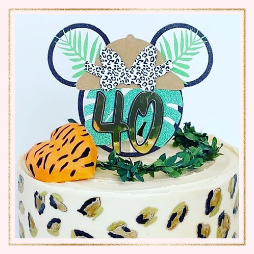 Safari Minnie Mouse themed cake topper