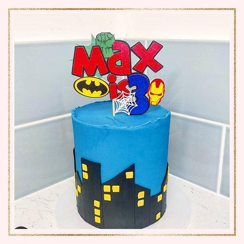 Marvel themed cake topper