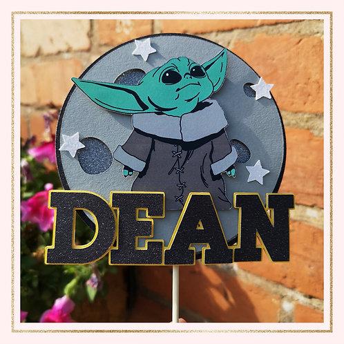 Baby Yoda themed cake topper