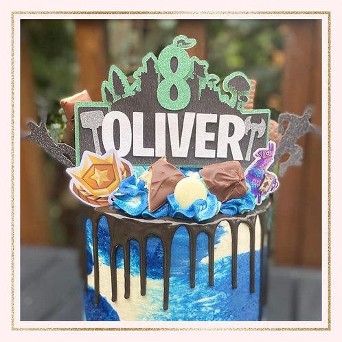 Fortnite themed cake topper