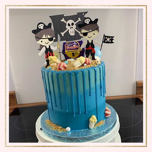 Pirate themed cake topper set