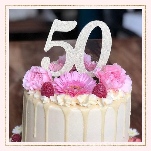 Single colour 'AGE' cake topper