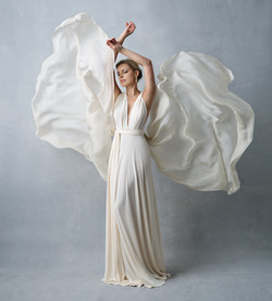 Lady on white dress