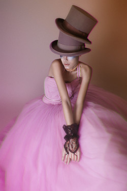 Model in pink gown