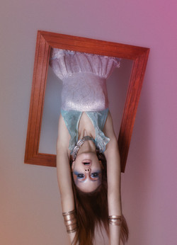 lady upside down ethereal couture makeup artistry