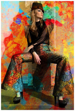model with multicolor background
