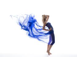 Sexy model wearing blue dress